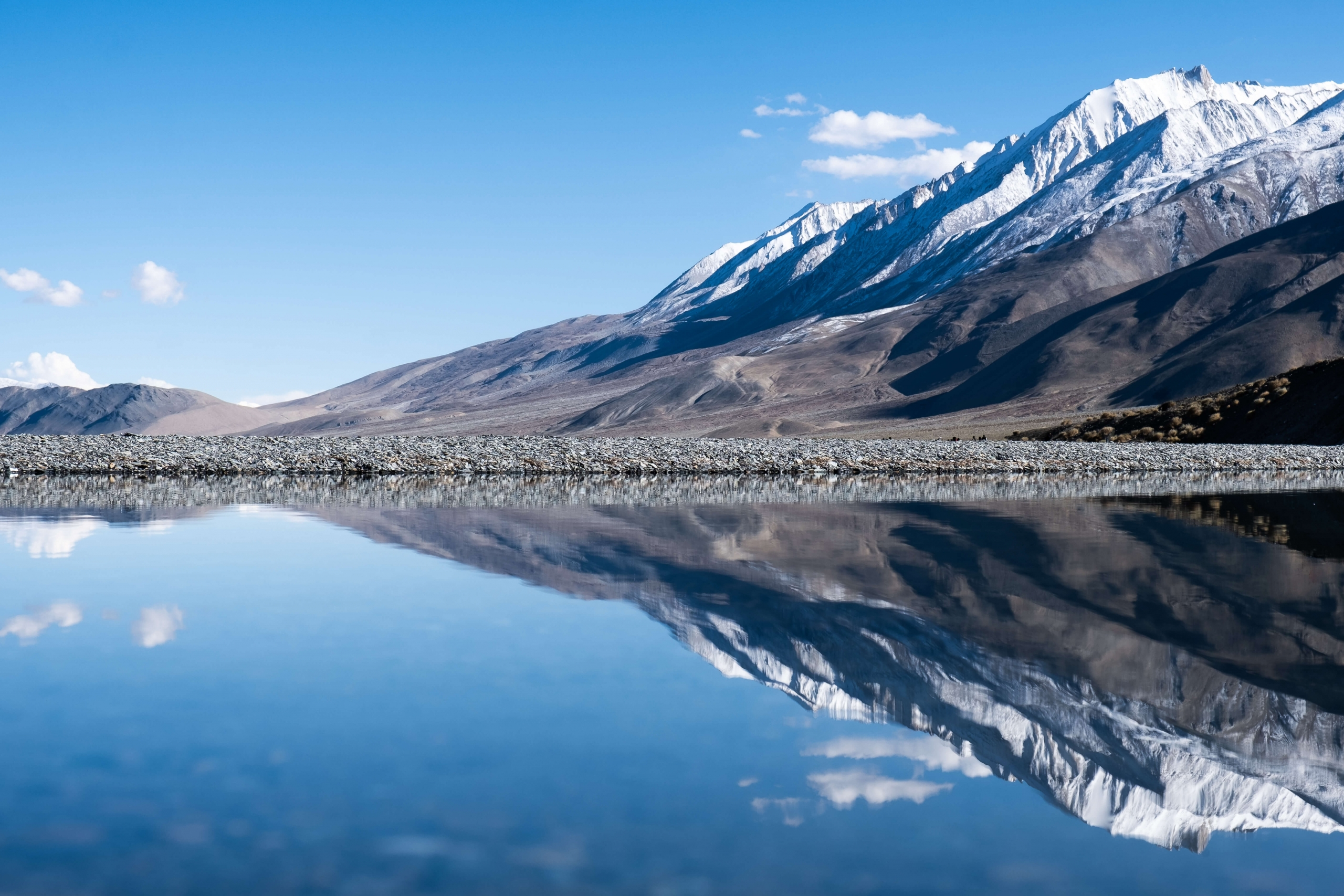 Mountain reflection at Pangong tso